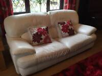 White leather 3 piece settee