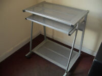 Aluminium Computer Desk, Good Condition, Lockable Wheels, Sliding Tray, Ready Built, Can Deliver