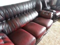 Three piece suite in lovely oxblood red leather 3 seat sofa