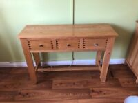 Solid oak console table . Great condition selling as moving house