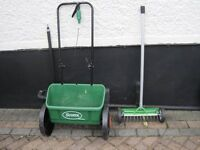 Long handle lawn scarifier and lawn seed spreader