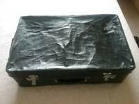 VINTAGE RETRO BLACK LARGE SUITCASE..1950's
