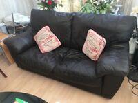 Chocolate leather sofas x 2 - bargain !!