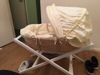 Moses basket with brand new mamas and papas stand