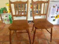Kitchen chairs - pair of late Victorian Windsor chairs with elm seats