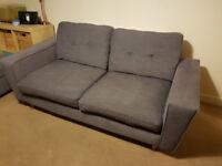 DFS Dark Grey Sofas and Stool