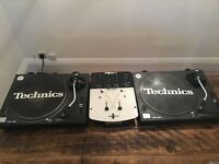 2 x Technics SL1210 Turntables with Numark Pro SM1 Mixer