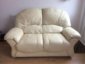 Cream Leather Sofa - 2 seater