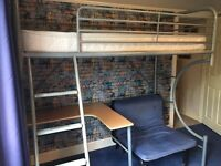 High Sleeper Bed with mattress, desk, futon pull out bed
