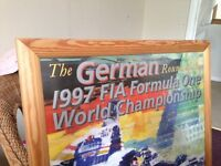Framed limited edition art print by Dexter Brown of the German Grand Prix 1997 (66cm x 90cm)