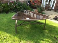 "Triangle Black glass garden table 60"" x 60"" good condition pick up only"