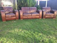 Solid leather 3 piece sofa suite can deliver