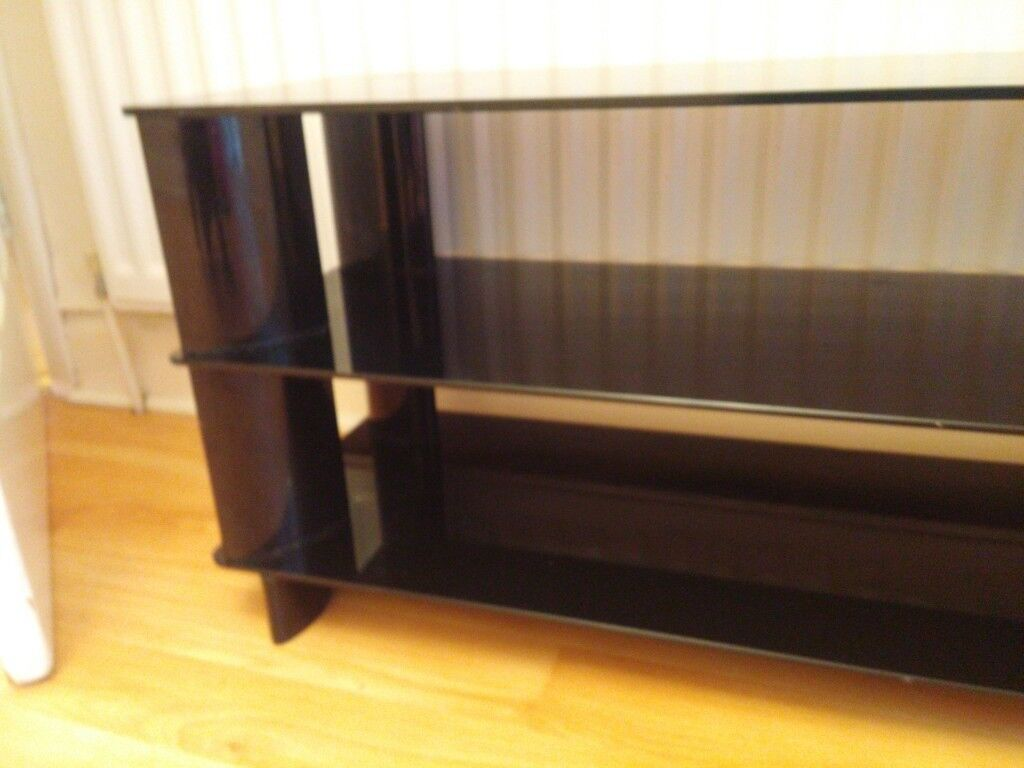Tv Stand Black Glass 48 Inch Wide Approx In Sutton Coldfield West