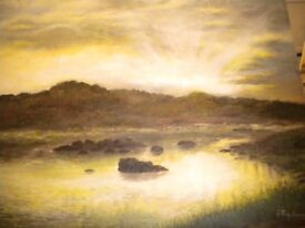OIL ON BOARD OF A LAKE 20X18 INCHES