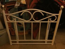 White gloss bed head board frame 3/4 bed