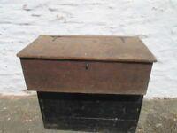 old wooden storage chest .