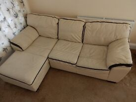 cream leather sofa L shape 2 piece from DFS suitable for corner . good condition.