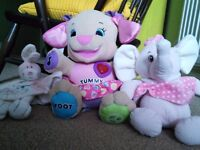 Fisher Price Puppy, Pink Elephant and Rabbit Comforter.
