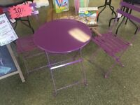 Kingfisher Purple Metal Bistro Conservatory/outdoor Garden Patio Furniture Set