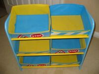 Boys Wooden Toy Storage Frame with Fabric Baskets - Immaculate - Ready Now