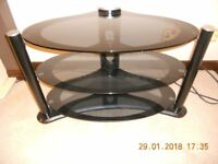 TV STAND BLACK GLASS OVAL SHAPE !