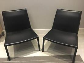 Modern leather armchairs (pair)
