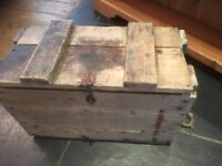 Antique Pine ammunition box Trunk Chest Coffee Table