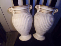 PAIR OF URN STYLE WALL MOUNTED CLAY PLANTERS