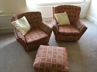 3 Piece Suite (wood framed) with foot rest.