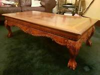 Italian Carved Inlayed Coffee Table
