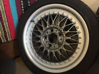 """BBS RC 090 Style 5 2x 8"""" 2x9"""" Staggered set Fully refurbed w/ Goodyear Eagle F1"""