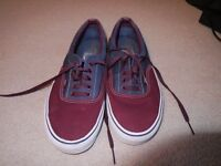 Maroon and blue Vans shoes