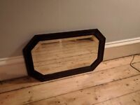 Wooden frame mirror with bevelled edged glass