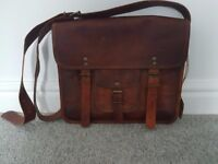 100% Brown Leather Satchel Bag - New with tag - Never used