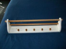 Ikea coat pegs and shelf wall mountes wood and white
