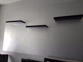 Black gloss floating shelves