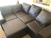 4 seat corner sofa with foot stool - excellent for moving into homes with narrow doors/hallways