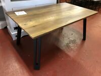 AVAILABLE NOW New dark industrial hall coffee table with wave or straight edge only £79