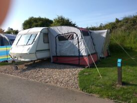 Elddis Cyclone Xl 5 Berth Caravan. Lightweight and Comes with Awning