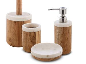 kit accessori arredo bagno legno e marmo bianco-prajat-collezione ... - Kit Arredo Bagno