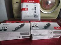 FOR SALE CANON PIXMA PRINT CARTRIDGES. 1 X 551BK, 4 X 551BKXL AND 1 X 550XLPGBK