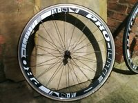 Aero Bike Wheels - with campag sprocket and 700C tyres