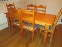 Farmhouse style Table and six Chairs