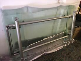 Heavy glass table.
