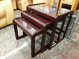 Mahogany Glass Topped Nested Tables. Delivery Available