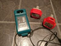Makita charger DC1414 F plus two batteries 12V 1.3aH