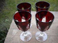 4 BEAUTIFUL RED CUT STEMED GLASSES