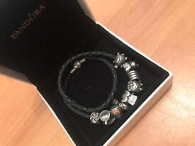 Black leather pandora bracelet with charms