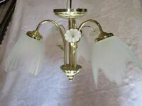Ceiling light - 3 arm - glass shades