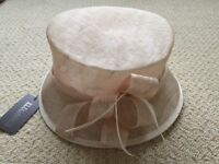 Ladies hat in neutral tones ideal for wedding, races, special occasion